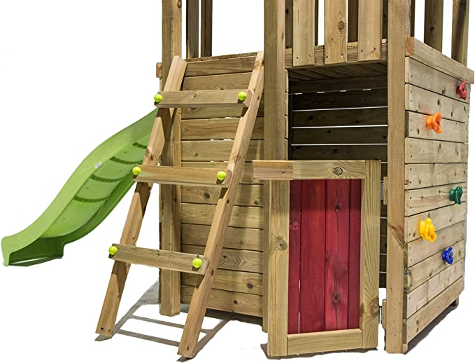 MASGAMES | Parque Infantil Canigo L con caseta (Duplex) | Pared de Escalada | tobogán con Conector a Manguera | Plataforma 120 cm Altura | Anclajes incluidos | Uso doméstico |: Amazon.es: Juguetes y juegos