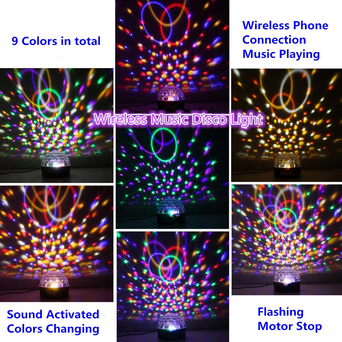 Disco Ball Projector Party Lights Speaker Strobe Club lights Effect Magic Mini LED Stage Lights Wireless Phone Connection with Remote Control for Kids Birthday Gift Home KTV Xmas Wedding Show Pub