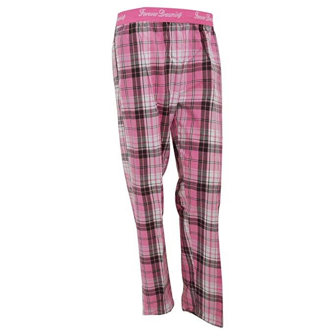 Pantalón de pijama con estampado a cuadros para mujer (Grande (L)/Rosa