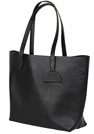 5b0046ceb85d Leather Tote Bag for Women. Made with Genuine Leather. This Extra Large  Black Tote