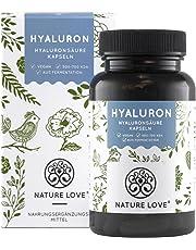 NATURE LOVE® Hyaluronsäure Kapseln - Der Vergleichssieger 2019* - Hochdosiert mit 400 mg. 90 Stück (3 Monate). Laborgeprüft und mit 500-700 kDa (mikro-molekular). Vegan und hergestellt in Deutschland