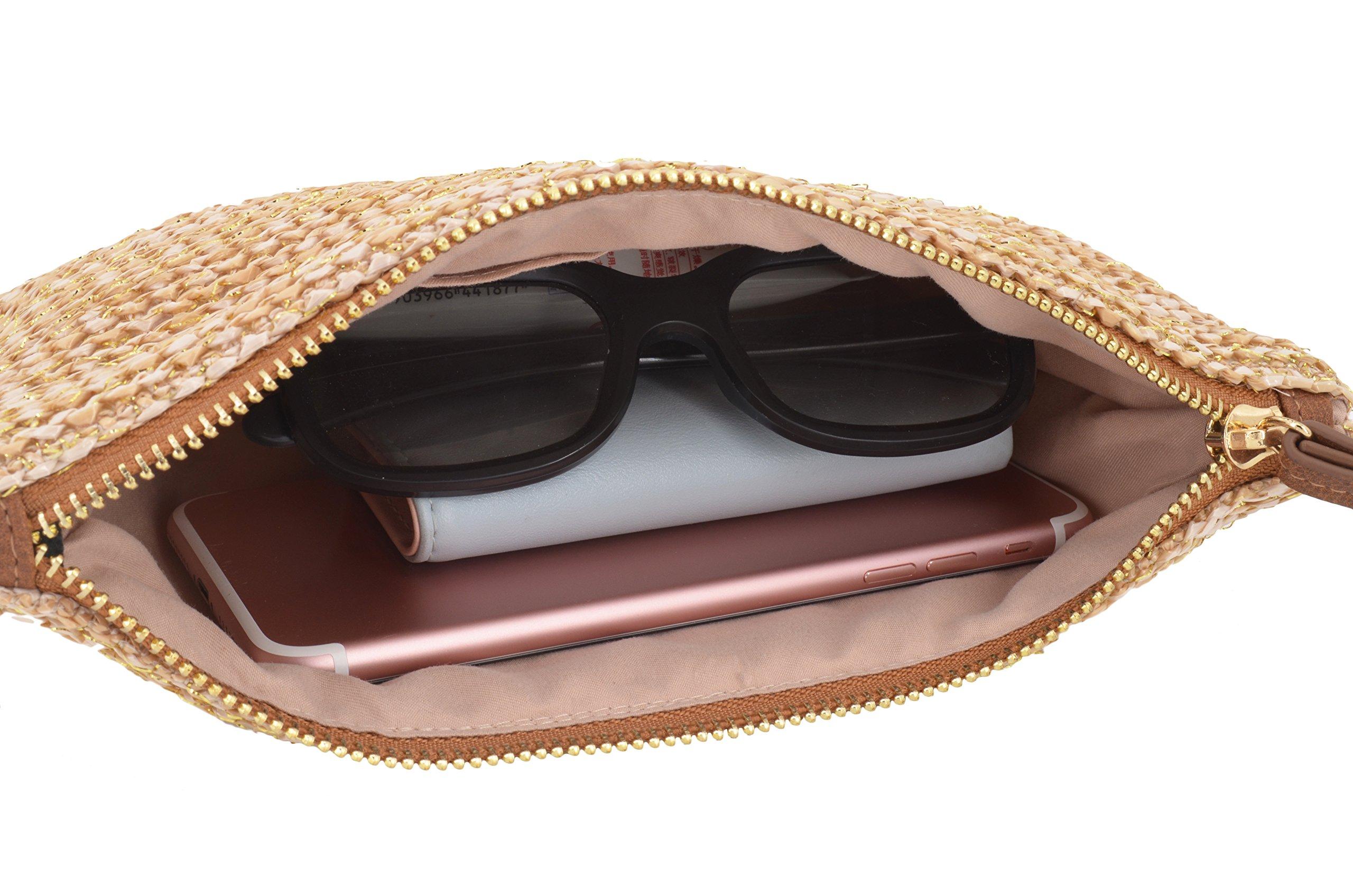 AGNETA Women's Hand Wrist Type Straw Clutch Summer Beach Sea Handbag (Brown Large) by AGNETA (Image #7)