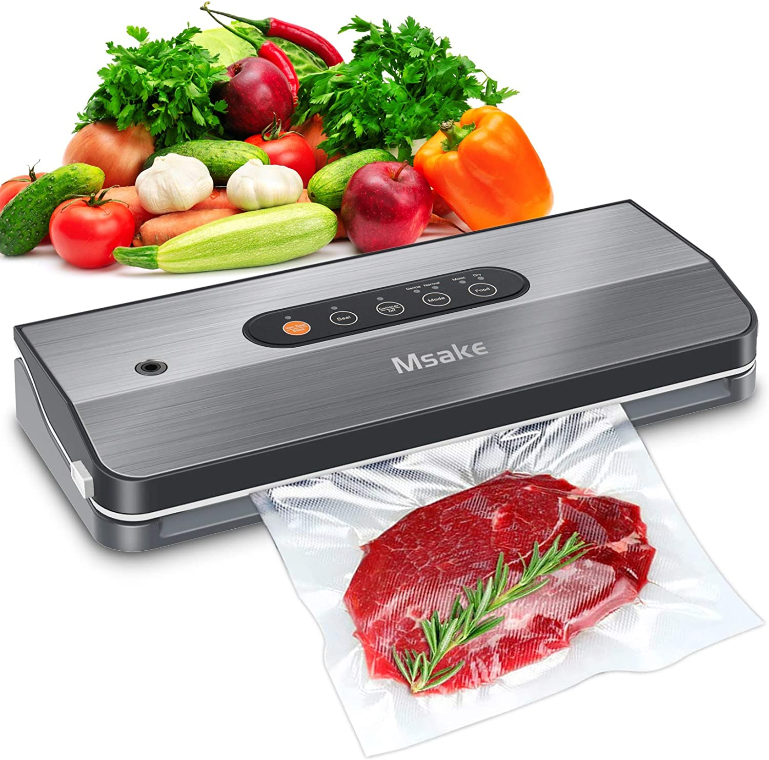 Vacuum Sealer Machine - MSAKE SJ-209 Food Savers for Food Preservation - Full Starter Kit | 4 Food Modes | Led Indicator Lights Panel | Separated and Stainless Design for Easy Clean | Compact Design