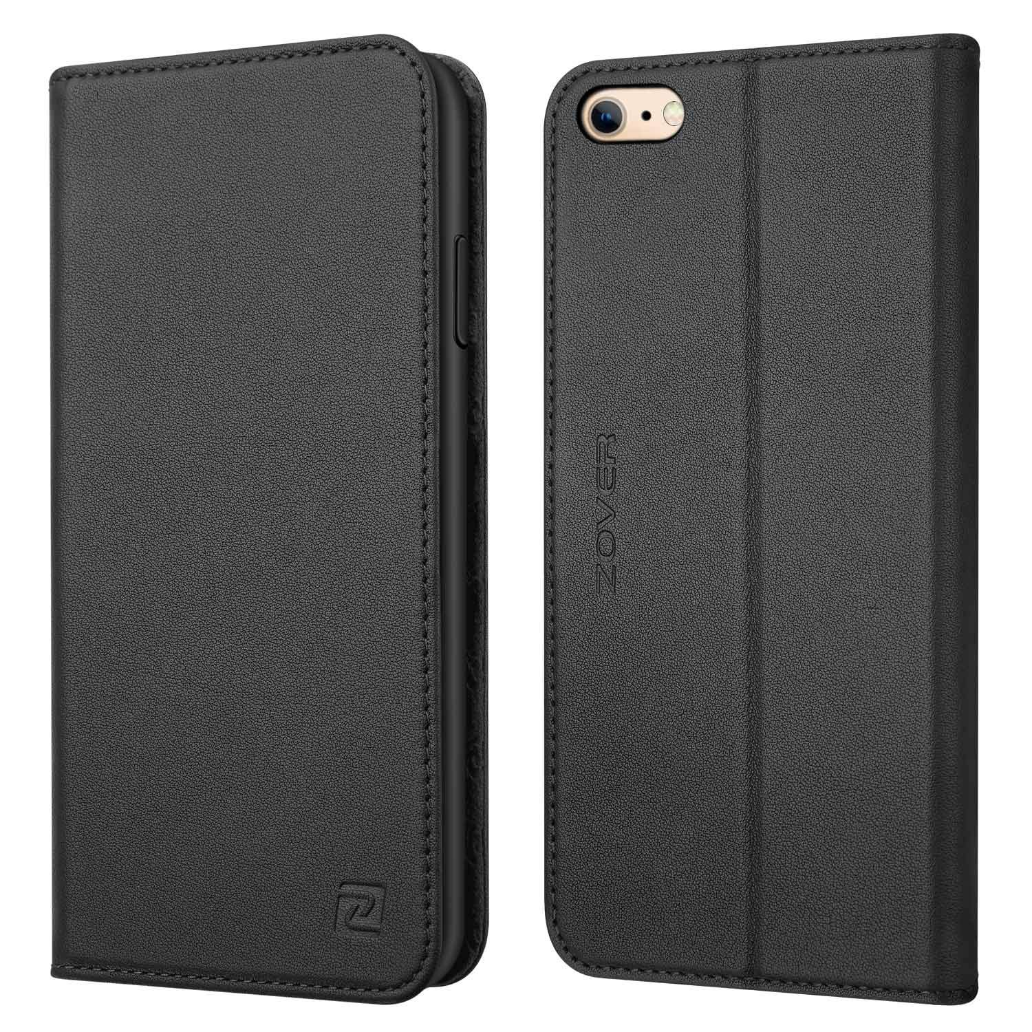 iPhone 6S Wallet Case iPhone 6 Wallet case ZOVER Genuine Leather Flip Folio Book Case with Kickstand Feature Card Slots & ID Holder and Magnetic Closure for iPhone 6 and iPhone 6S Brown iPhone 6/6S Leather-Brown-New