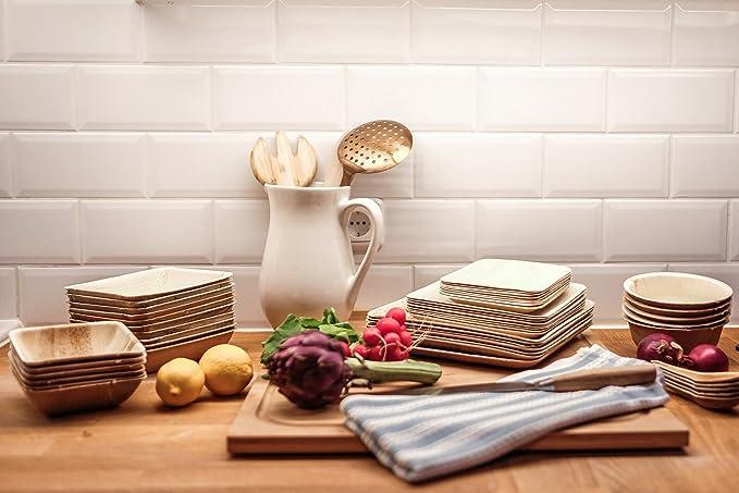 Cuencos de papel desechables Eco Palma: biodegradables compostables Heavy Duty pequeño sopa ensalada aperitivos para aperitivos y postre fiesta Bowl ...
