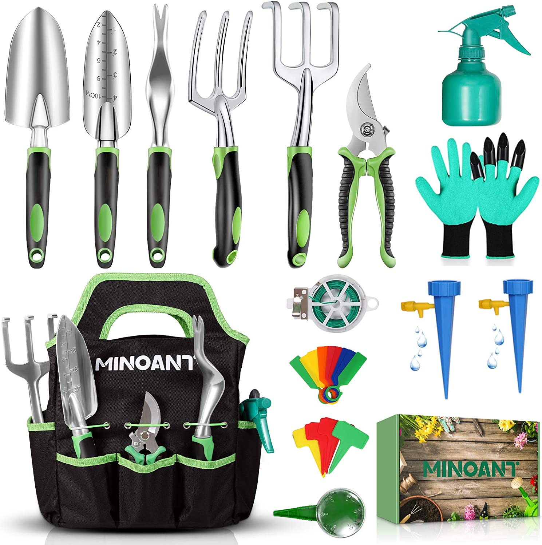Gardening Tools, Garden Tools Set, Gardening Hand Tools, Gardening Gifts for Women Men, Heavy Duty Gardening Supplies, Aluminum Garden Tool Set, Gardening Kit Supplies with Garden Shovel, 33pcs