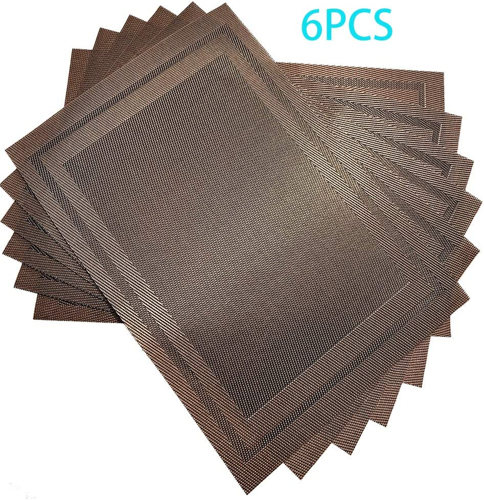 SN NJDF Table Mats Set of 6, Premium Placemats Non Slip, Heat Resistant Placemats, Placemats for Kitchen Table, Washable Table Mat Protection of Desktop and Easy to Clean(Brown)