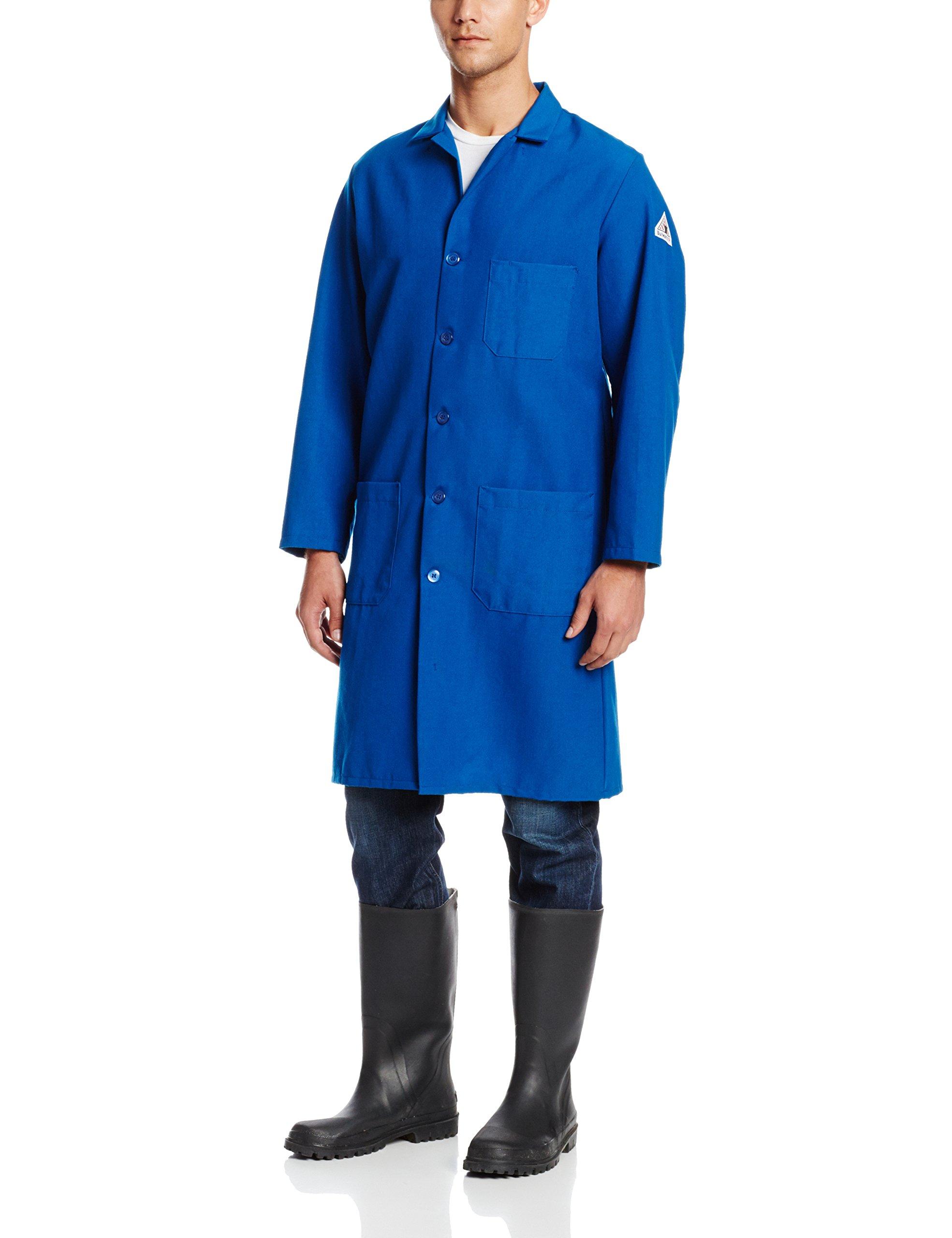Bulwark Flame Resistant 6 oz Nomex IIIA Lapel Collar Lab Coat, Royal Blue, Medium