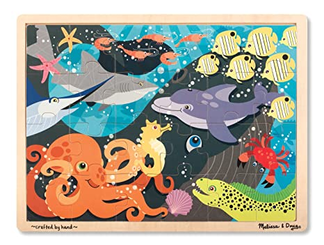 da2ce3accd821 Image Unavailable. Image not available for. Color  Melissa   Doug Ocean  Pals Wooden Jigsaw Puzzle ...