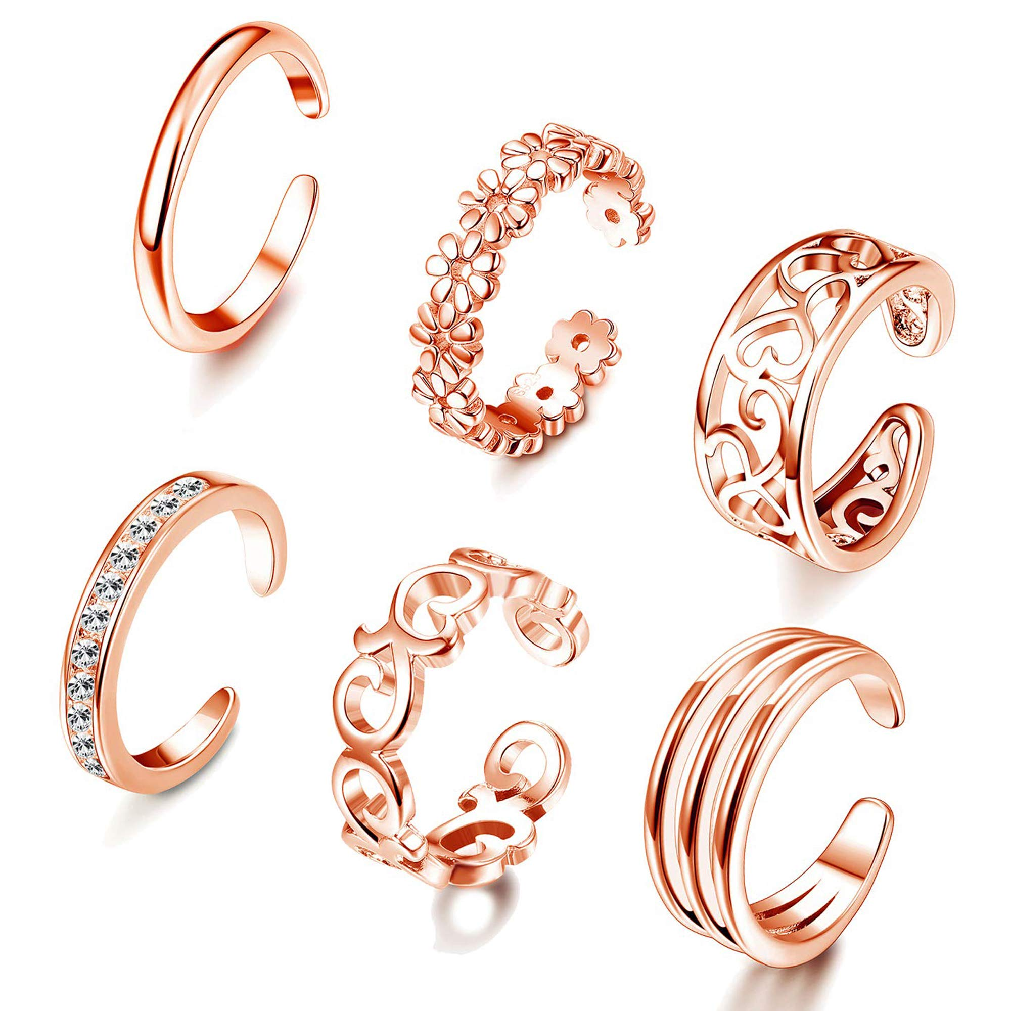 LOLIAS 4Pcs Open Toe Rings for Women Girls Arrow Adjustable Toe Band Ring Gifts Jewelry Set (E:6 Pcs Rose Gold) by LOLIAS
