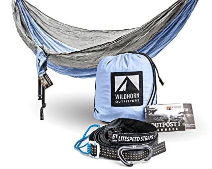 outpost double single camping hammock with 11 u0027 tree straps   100  parachute nylon amazon    outpost double single camping hammock with 11 u0027 tree      rh   amazon