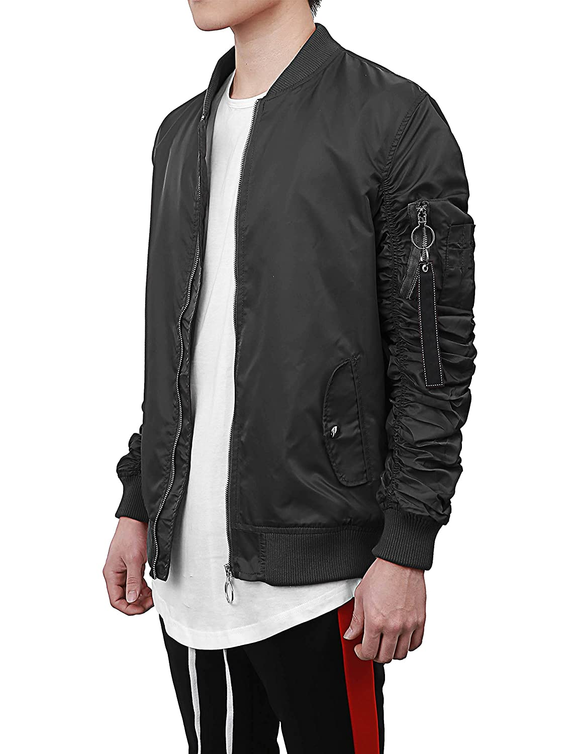 Hat and Beyond Mens Ruched Bomber Jacket Lightweight