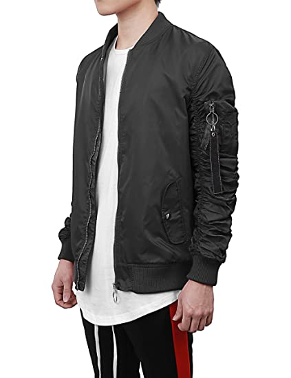 a228b32a718 Hat and Beyond Mens Ruched Bomber Jacket Lightweight Waterproof Zip Up  Windbreaker (Small