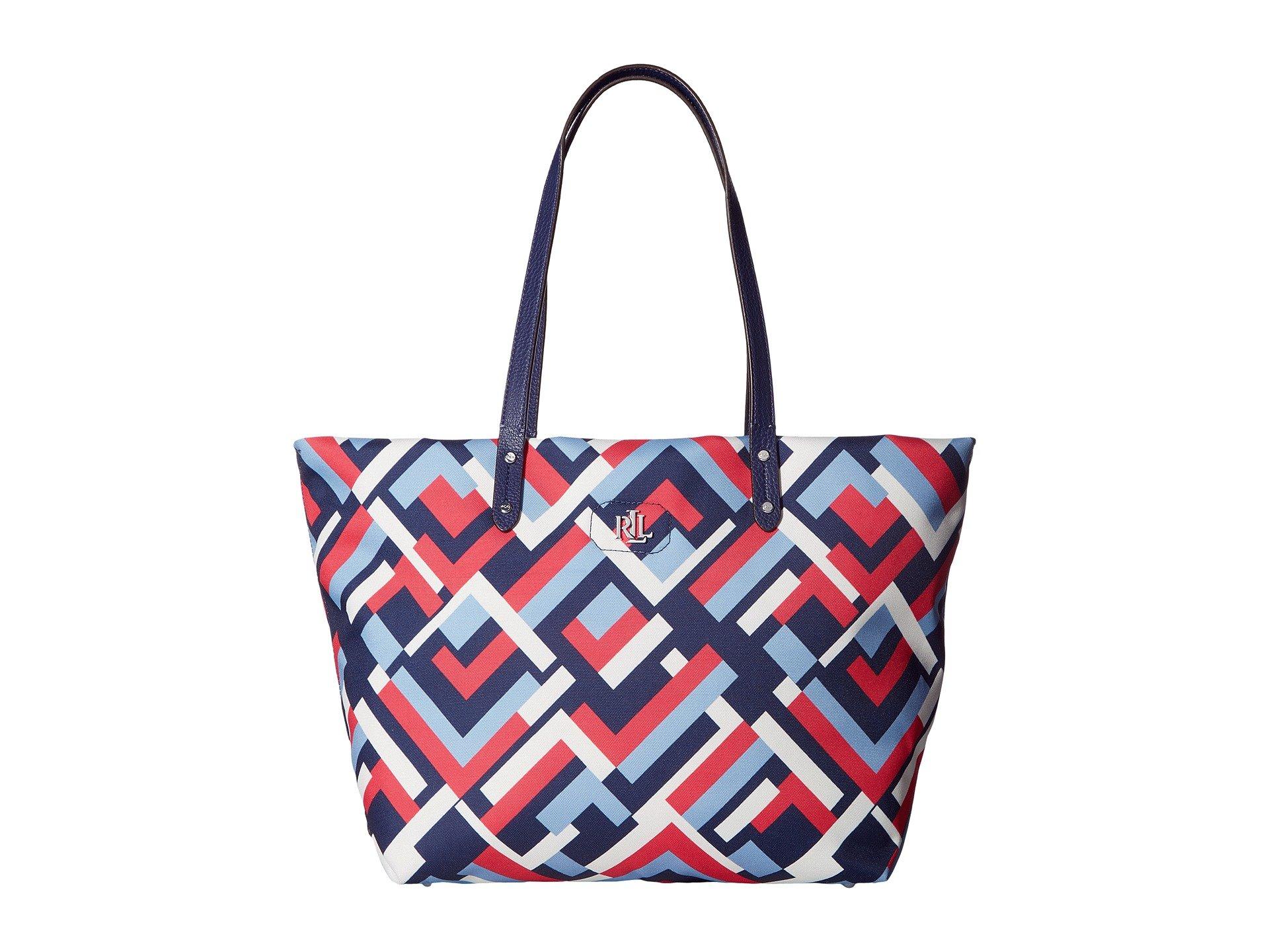 LAUREN Ralph Lauren Women's Bainbridge Tote Marine Multi Geo Handbag