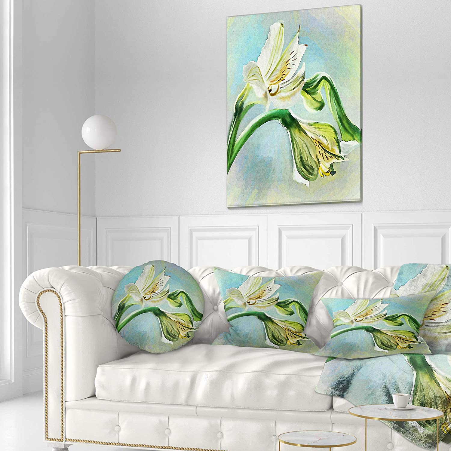 Sofa Throw Pillow 12 in Designart CU13490-12-20 White Lily Flower Sketch Watercolor Floral Lumbar Cushion Cover for Living Room in x 20 in