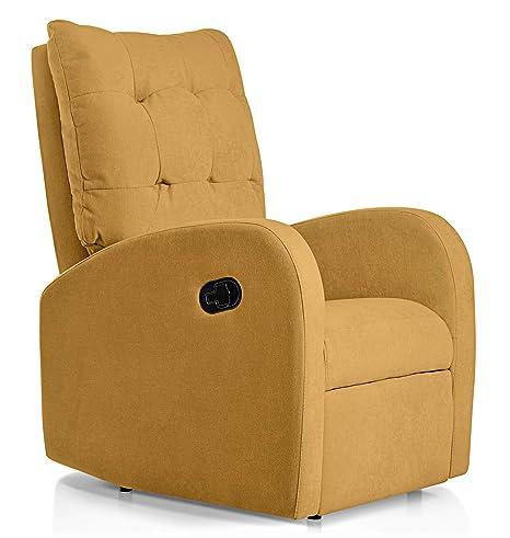 SuenosZzz - Sillon Relax reclinable Soft tapizado Tela Antimanchas Color Mostaza   Sillon reclinable butaca Relax   Sillon orejero Individual Salon ...