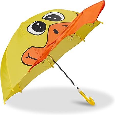 color/é Relaxdays Parapluie pour enfants motif chouette effet 3D fille gar/çon d/ès 3 ans forme cloche