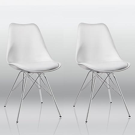Duhome Set di 2 Sedia da Sala da Pranzo in plastica Bianco Design Retro con Cuscino in Similpelle Stil scandinavo con Piedini in Metallo Cucina