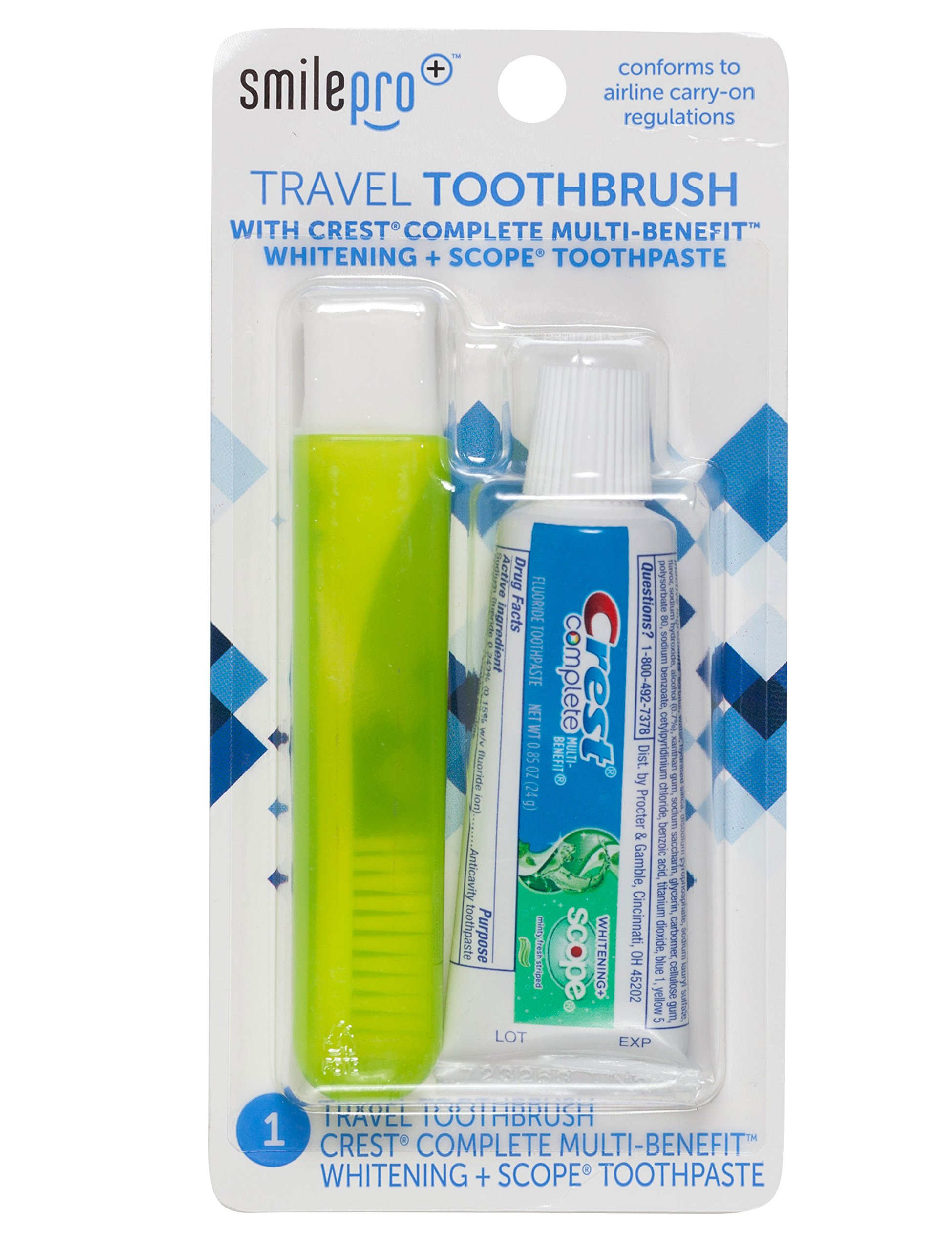 Dental Source Travel Toothbrush and Crest Toothpaste Kit, 3-pack