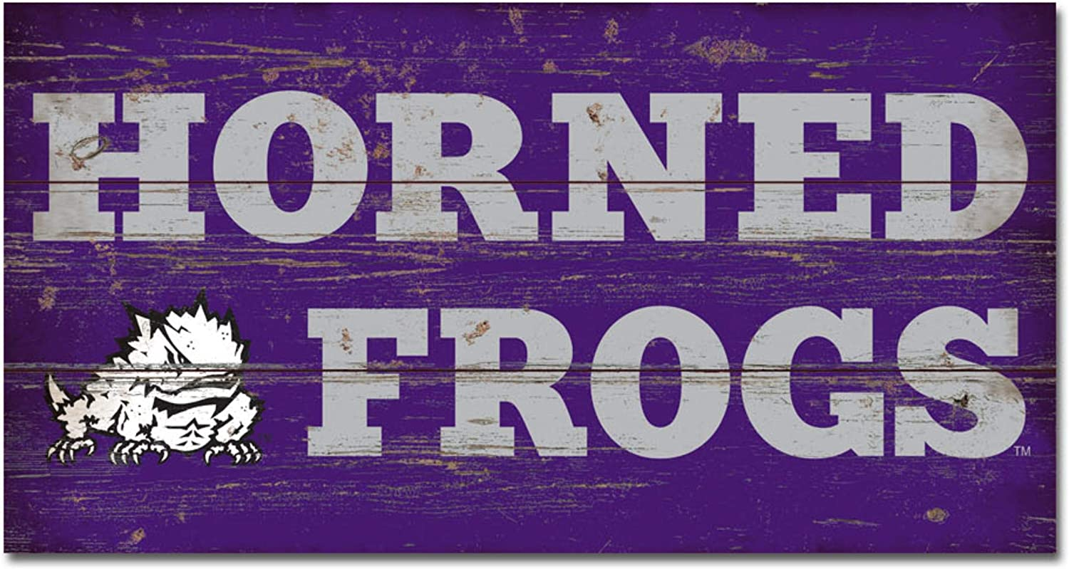 NCAA Legacy Tcu Horned Frogs Wood Plank Sign 11x20 One Size Wood