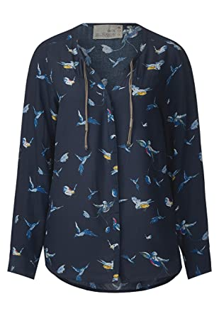 official shop buy detailed look CECIL Vogel-Print Bluse -Gr.wählbar- deep blue Größe XXL ...