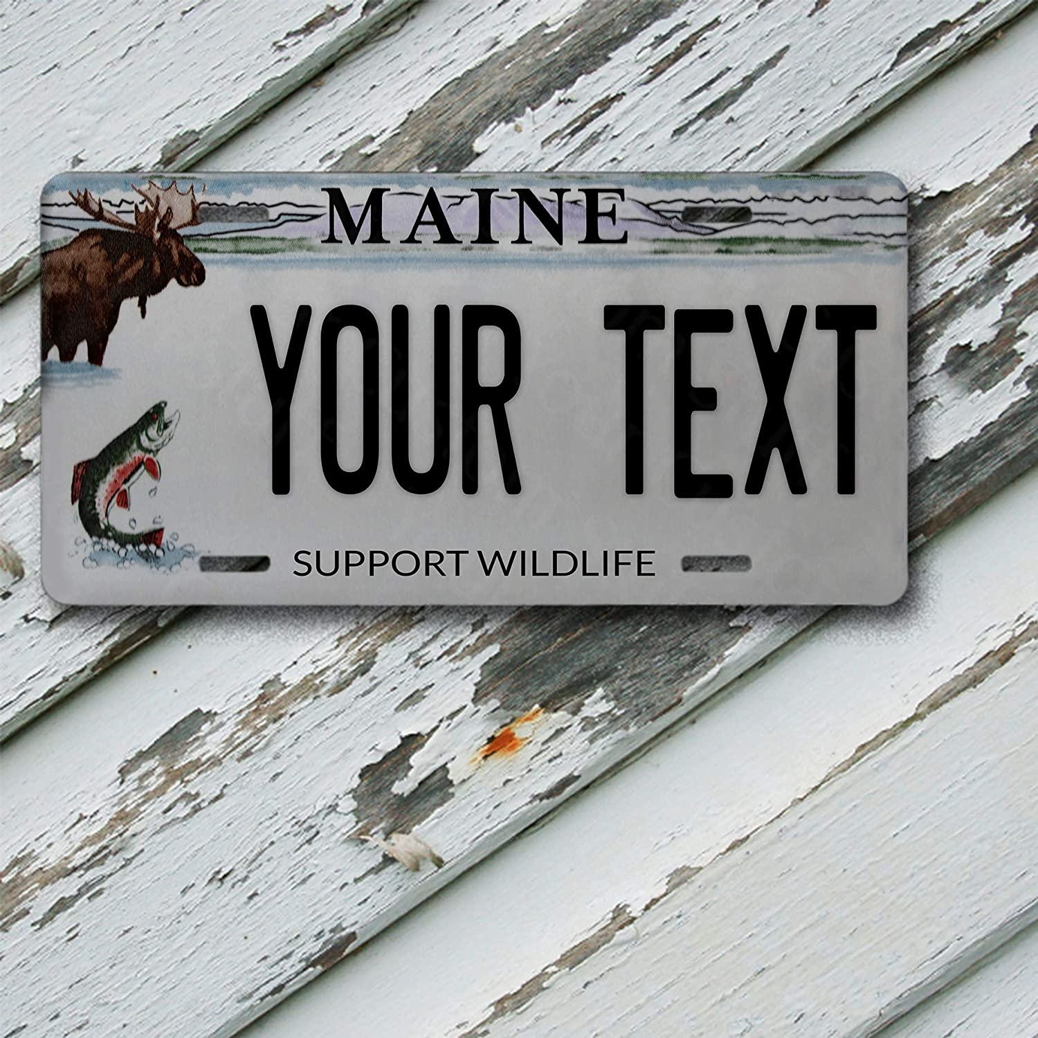 License Plate Maine Wave 2 Support Wildlife State Customizable 6 x 12 Aluminum Vanity License Plate