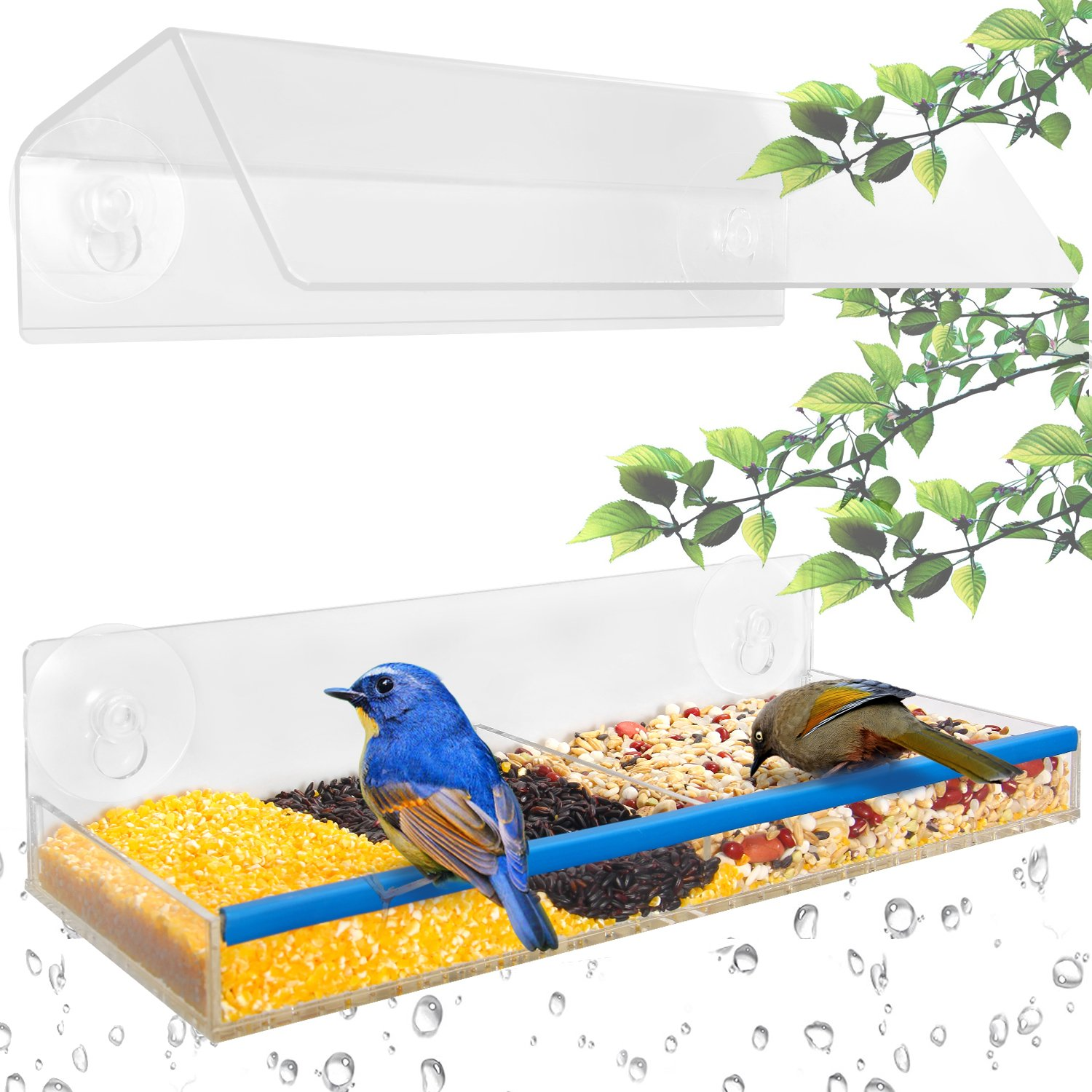 Ohuhu Best Birdwatching Window Bird Feeder, 2018 Unique Separation Design Acrylic Feeder, Adjustable Height Wild Windowsill Feeder W/Dual Compartment Tray, Suction Cups Easy Mount for All Weather