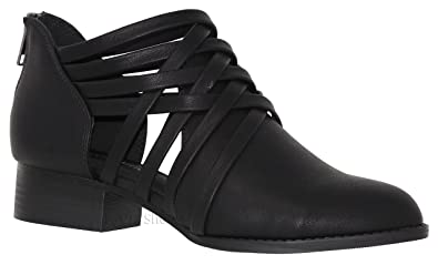 a436908db12b City Classified Women s Ankle Bootie Woven Strappy Weeve Criss Cross with  Low Chunky Heel BlackK 5.5