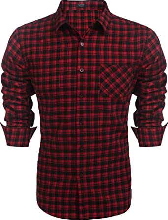 Men Fashion Regular Fit Long Sleeve Plaid Flannel Casual Shirts Button Down Shirts