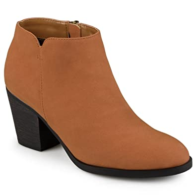 4fbf475a9290 Journee Collection Womens High Heeled Round Toe Chunky Heel Ankle Booties  Brown