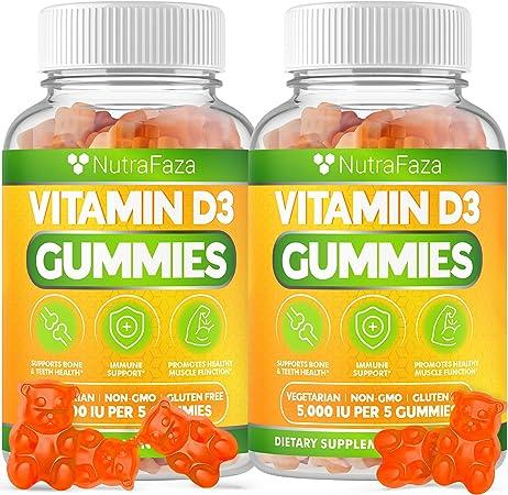 (2 Pack) Vitamin D3 Gummies - Immune Support - Healthy Bones, Teeth, Joints - Vegetarian - Gluten-Free - Chewable D3 Vitamin Supplement for Adults and Kids - 120 VIT D3 Gummies