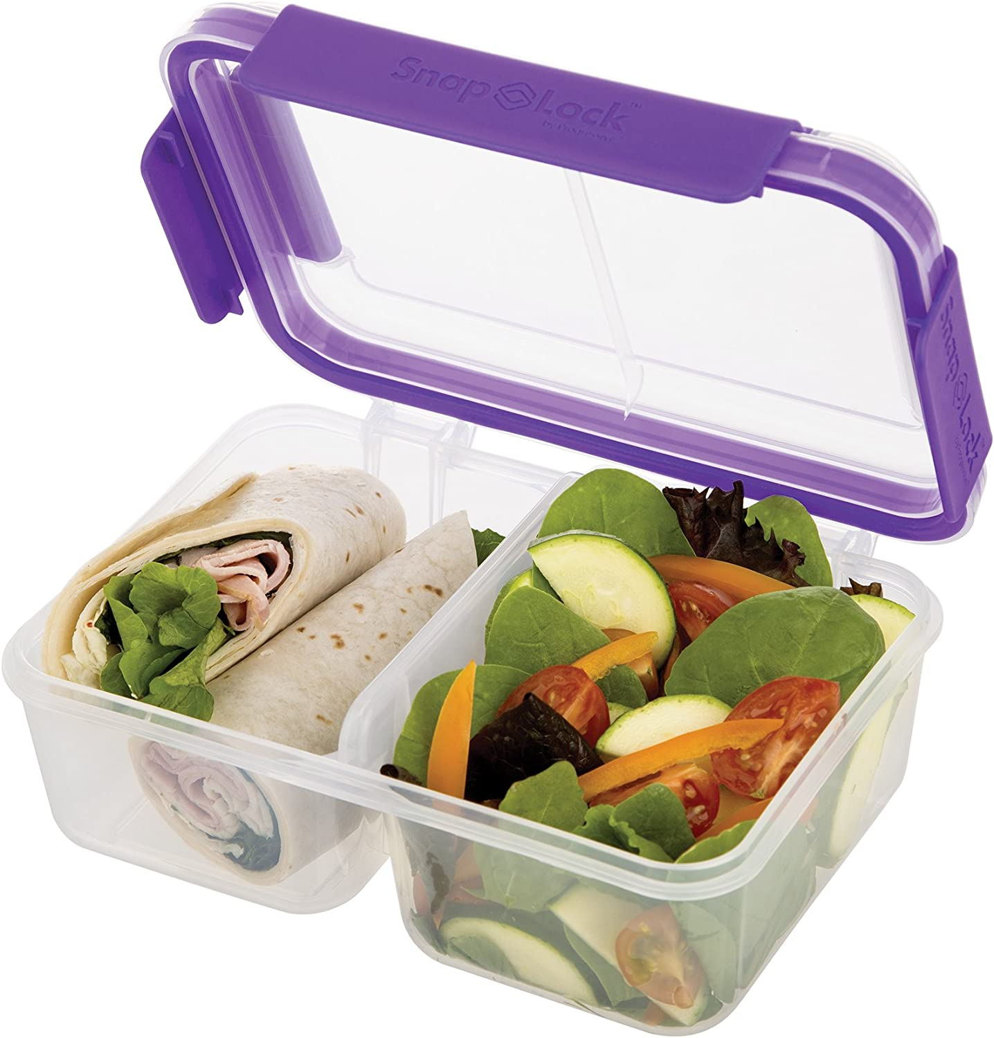 SnapLock by Progressive Deep Split Container - Purple, SNL-1018PEasy-To-Open, Leak-Proof Silicone Seal, Snap-Off Lid, Stackable, BPA FREE