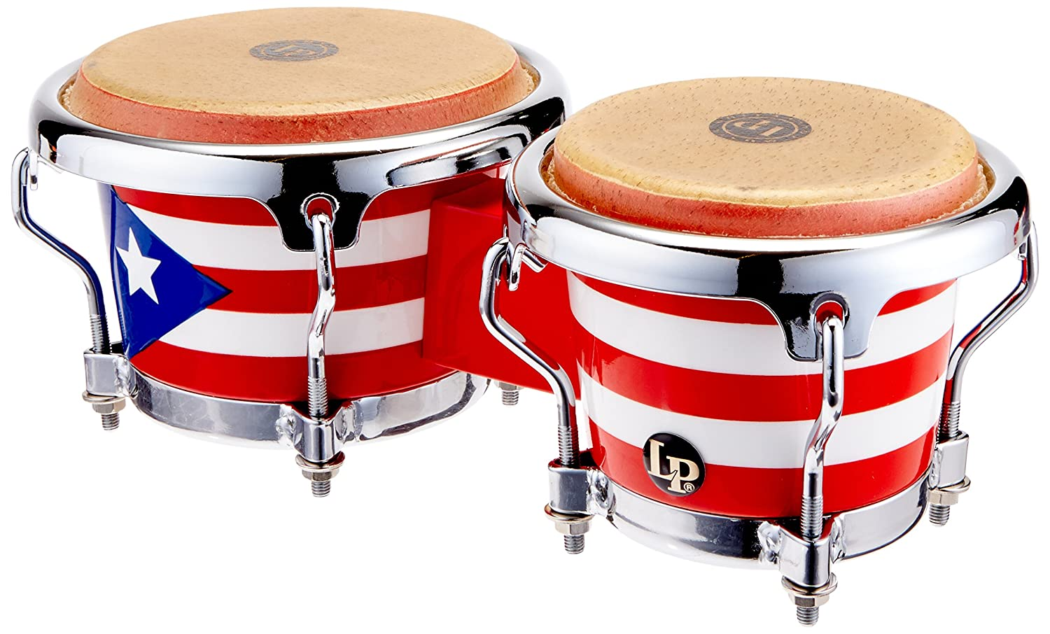 LPM199-PR LPMC Mini Tunable Puerto Rican Flag Wood Bongos Latin Percussion