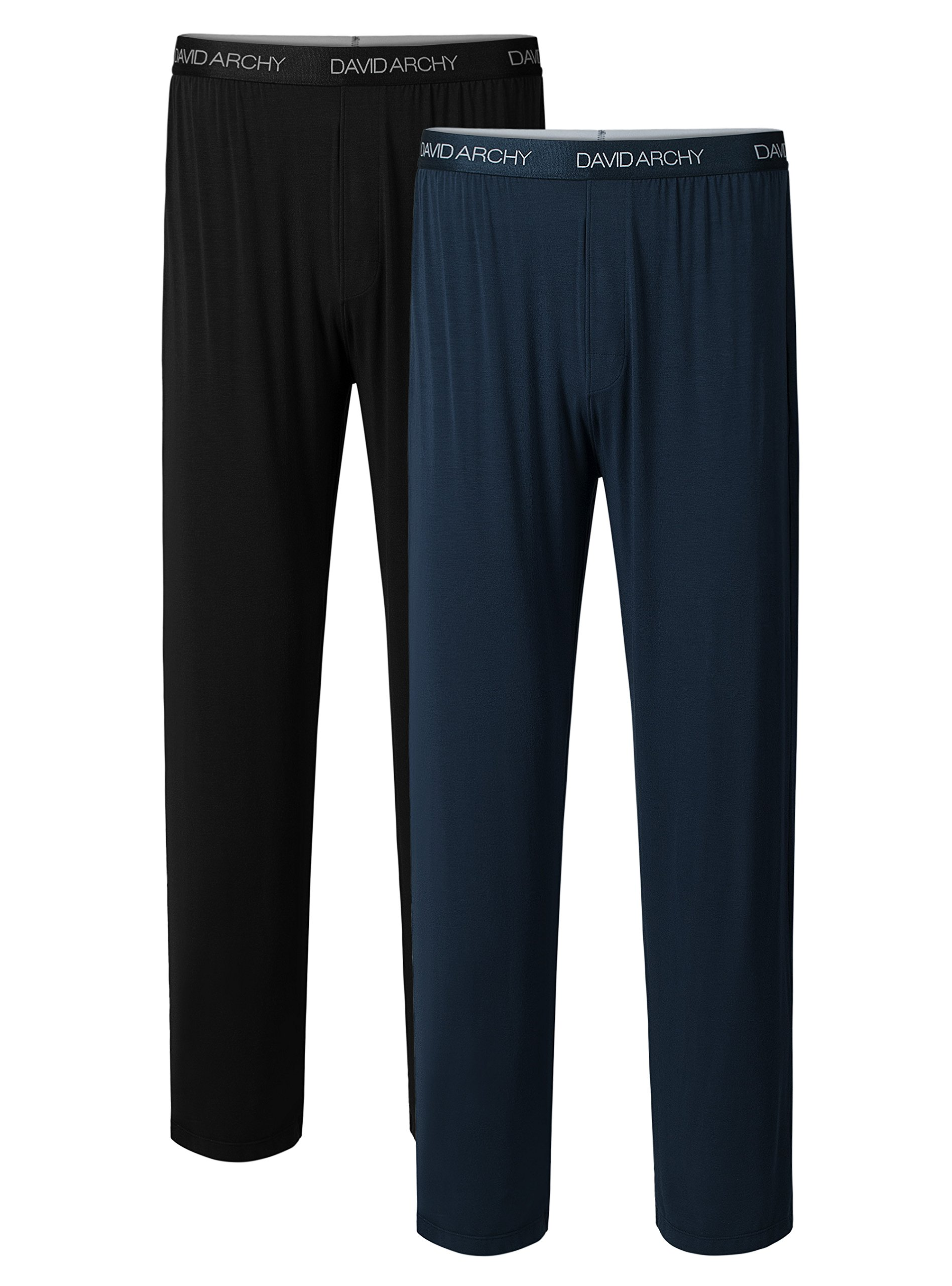 David Archy Men's 2 Pack Bamboo Long Pajamas Pants Loungewear Sleep Bottoms (M, Black+Navy Blue)