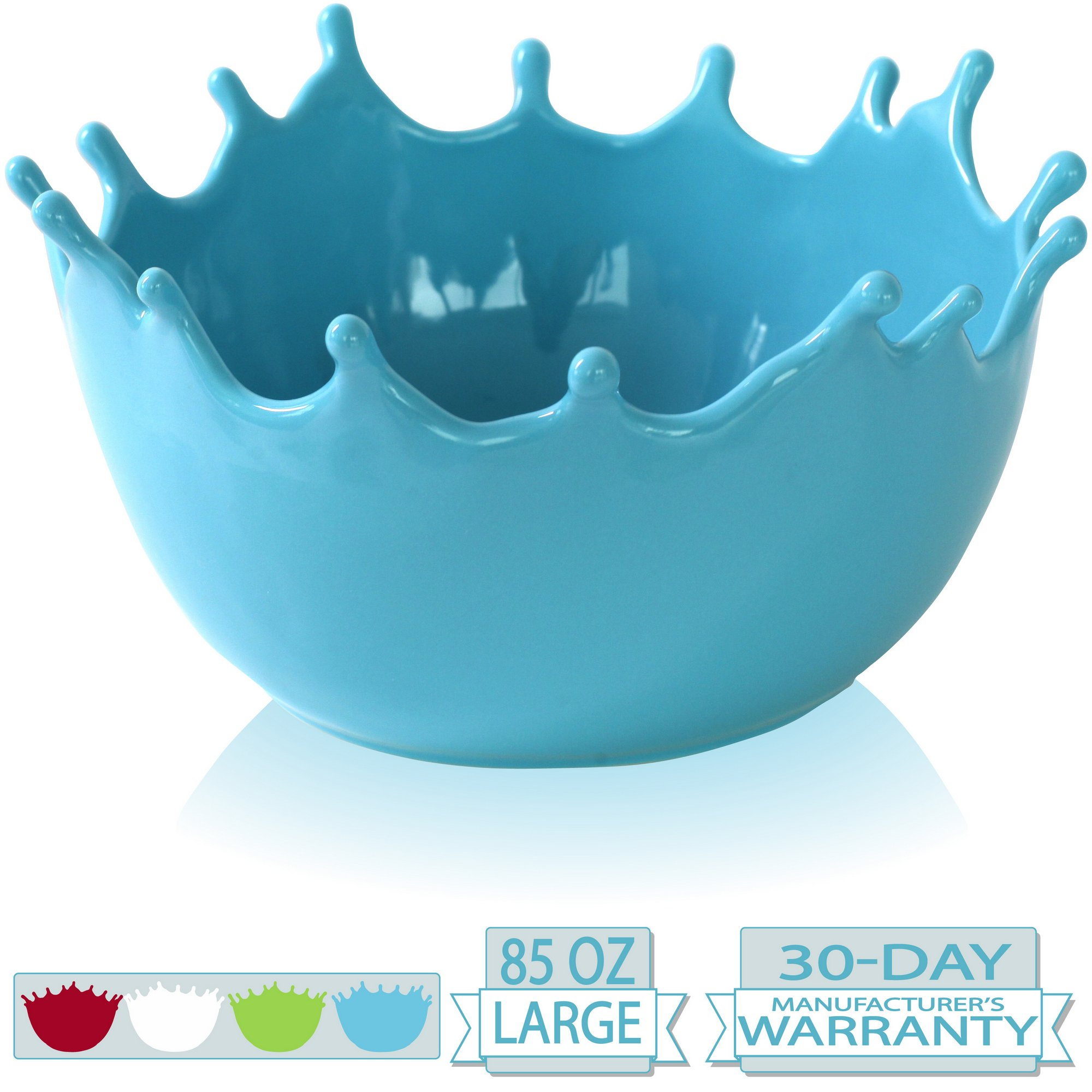 Premium Large Salad Bowl - Serving Bowl - Fruit Bowl - Candy Dish - Decorative Centerpiece Bowl - Best for Serving Fruit Salad Candy Popcorn Punch Chips Pasta - Unique Modern Design - Ceramic (Blue)
