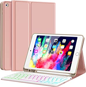 """Keyboard Case for iPad 8th Generation (2020)/7th Gen (2019) 10.2 Inch, 7 Backlight with Pencil Holder Detachable Wireless Keyboard Cover for New iPad 8th Gen/7th Gen 10.2"""", Rose Gold"""