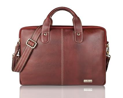 68930078150e Leaderachi Brown Leather 15 inch Laptop Messenger Briefcase Bag  Salvador