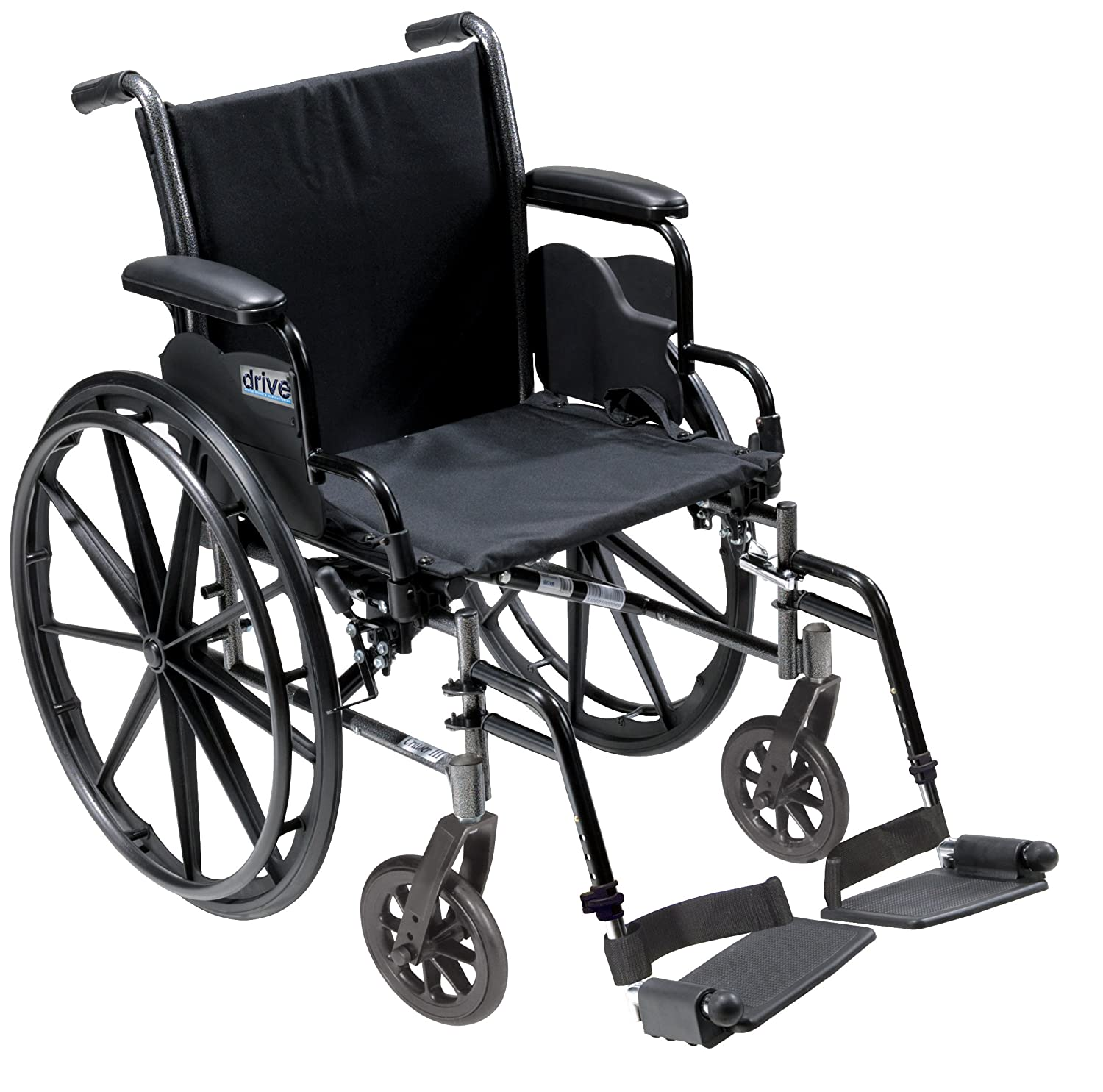 Drive Medical Cruiser III Light Weight Wheelchair with Various Flip Back Arm Styles and Front Rigging Options, Black, 16""