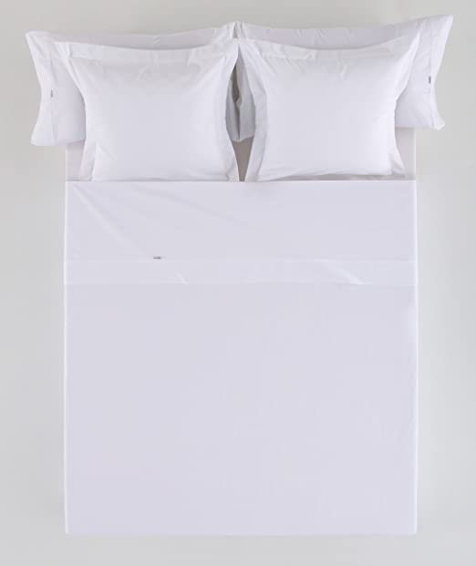 ESTELIA - Sábana encimera satén, Color Blanco - Cama de 135 cm. - 100% Algodón - 300 Hilos: Amazon.es: Hogar