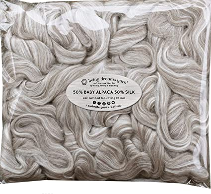 Felting Blending and Other Fiber Crafts Luxuriously Soft Combed Top Wool Roving for Spinning Natural Dark Brown Baby Alpaca Silk Fiber Blend
