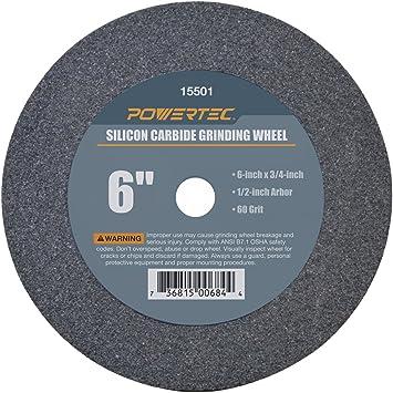 Renewed POWERTEC 15501 1//2 Arbor 60-Grit Silicon Carbide Grinding Wheel 6 by 3//4
