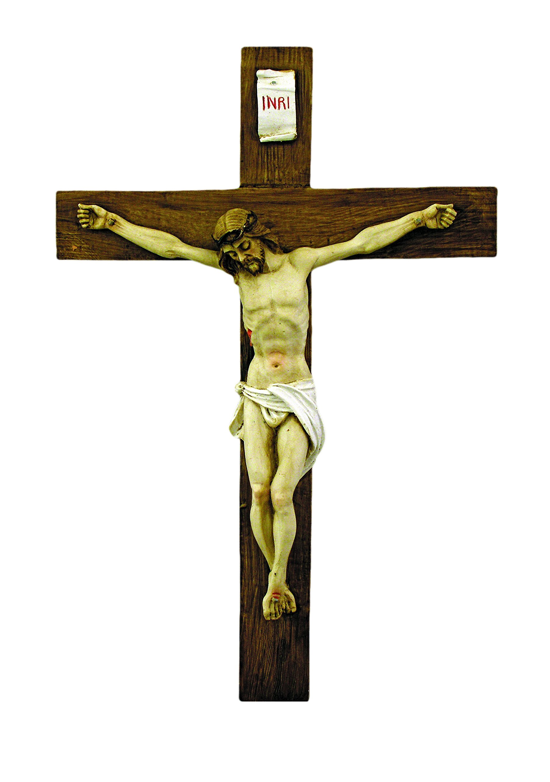 A hand-painted alabaster crucifix, 15''. Made in Italy.