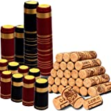 Karderon 200 Pack Wine Bottle Corks and PVC Heat Shrink Capsules, 100 PCS Natural Wine Corks and 100 PCS 2 Colors Seals for W