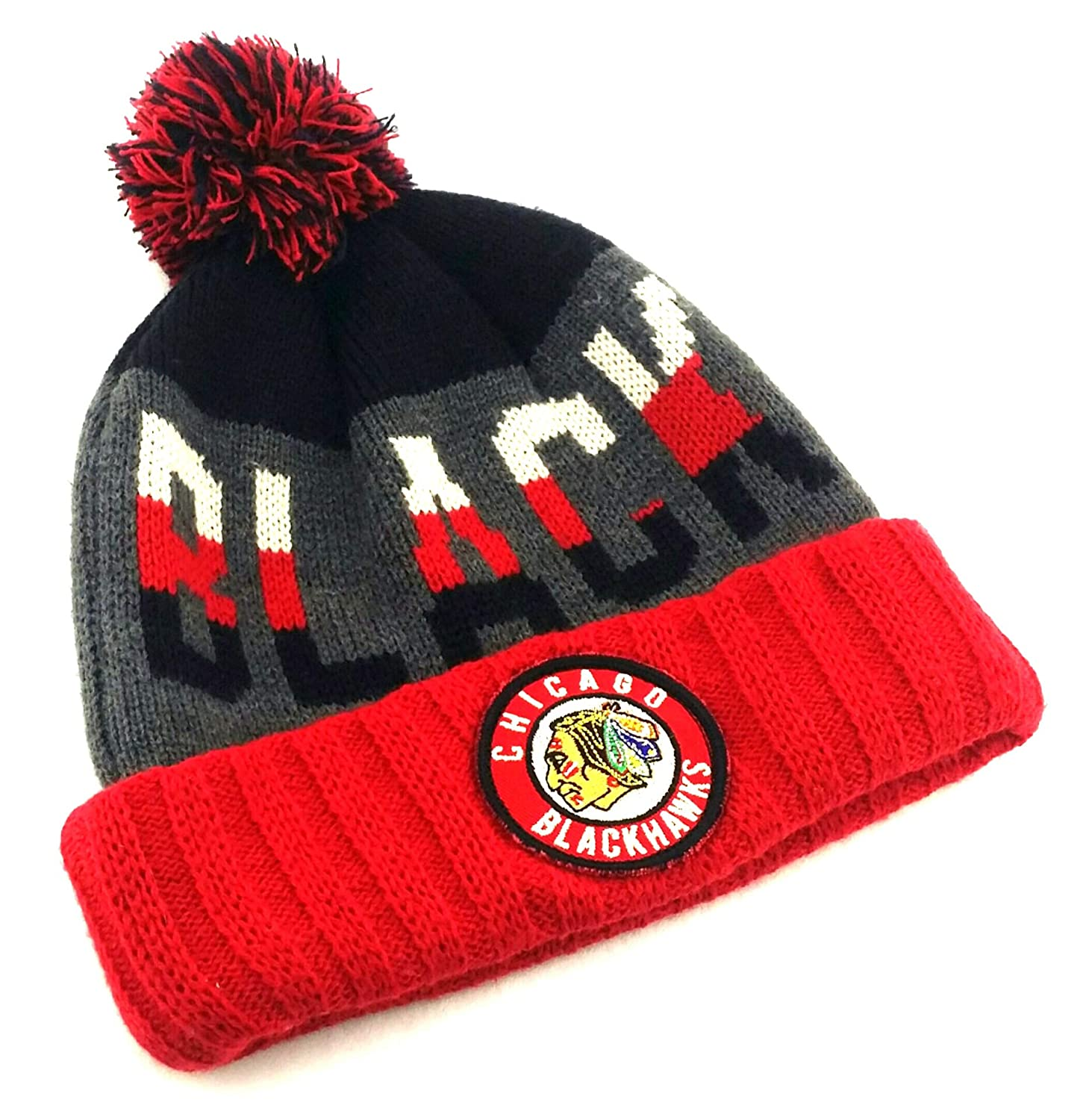 superior quality bb070 00b76 Amazon.com   American Needle Chicago Blackhawks New Vintage Toque Knit Red  Black Gray Era Beanie Hat Cap   Sports   Outdoors