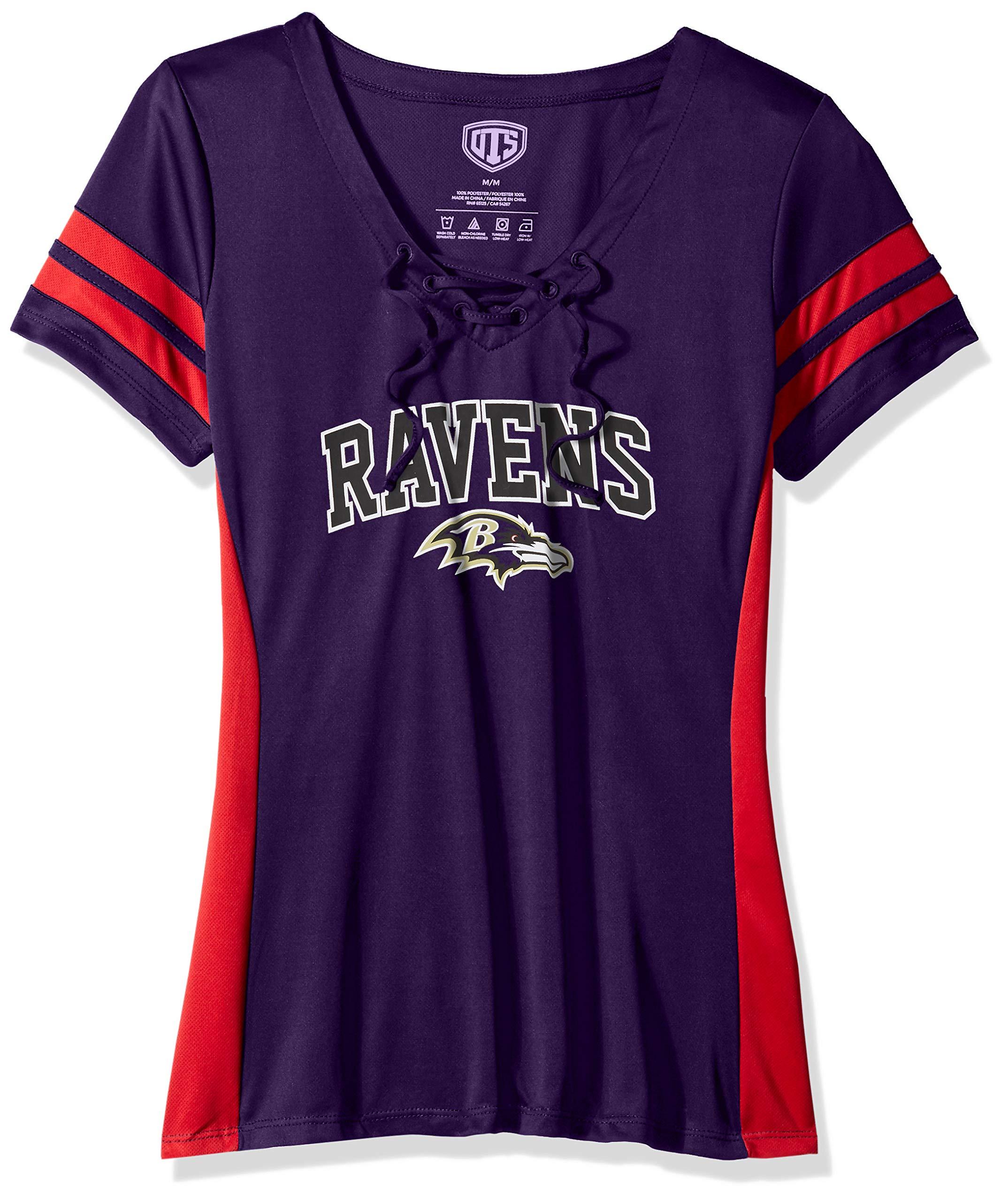 NFL Baltimore Ravens Female OTS Poly Lace Up V-Neck Tee, Purple, Medium