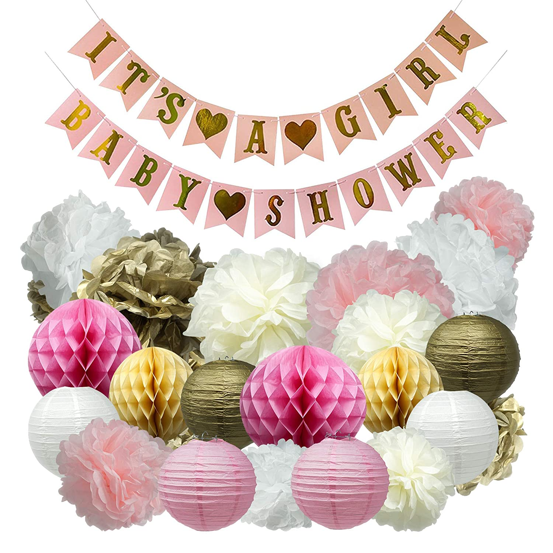 Oh Girls ベビーシャワーパーティーデコレーション 女の子用バナー! ピンク、クリーム、ホワイト、ゴールド。 プレミアム品質 – ペーパーランタン、ペーパーハニーコームボール、ペーパーポンポン – 24ピース装飾アクセサリー合計。   B07HP2DTG8