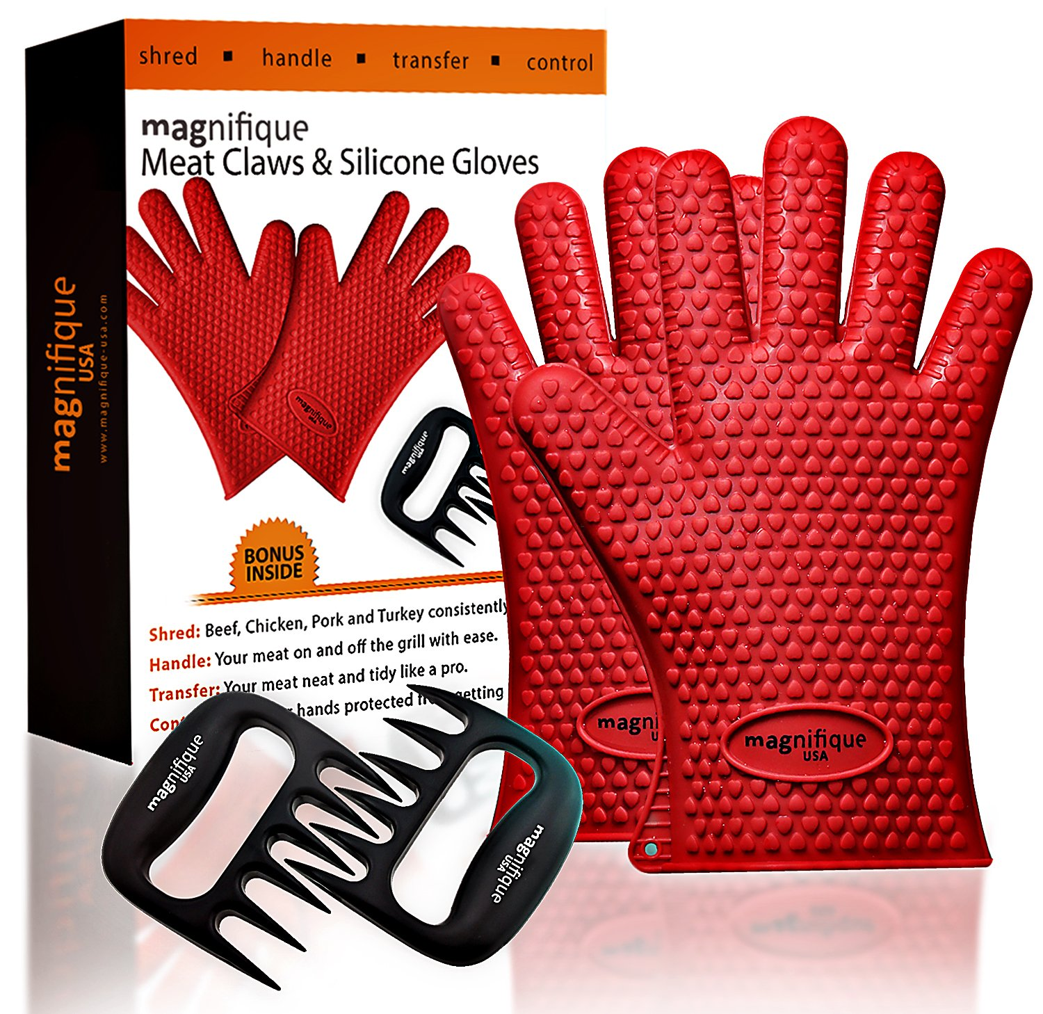 Premium Silicone Heat Resistant Cooking Gloves + Meat Handler BBQ Claw - Perfect for Baking, Cooking, Grilling. Use as Pot Holder- Red color by Magnifique USA