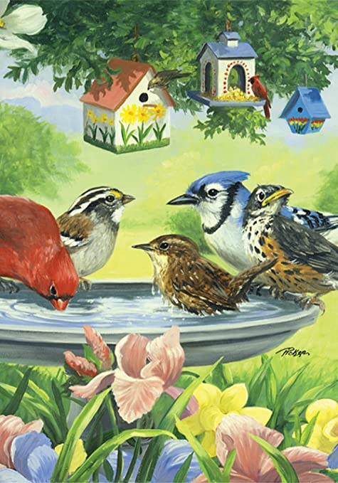"Bird Bath Summer House Flag Birds Flowers Floral Decorative 28/"" x 40/"""