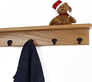 "product image for Solid Cherry Shelf Coat Rack with Aged Bronze Single Style Hooks (Natural, 21"" with 4 hooks)"