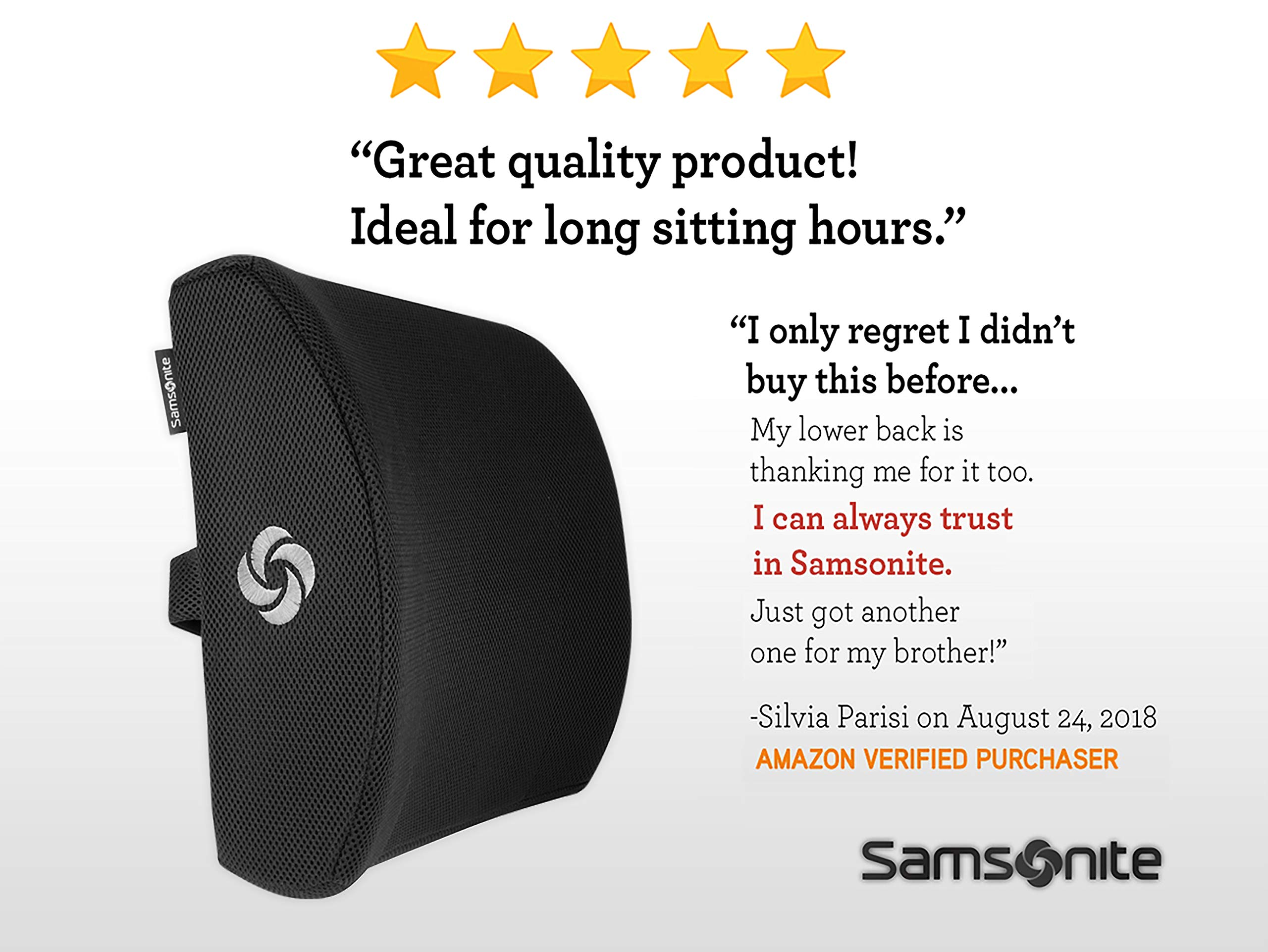 Samsonite SA5244 - Ergonomic Lumbar Support Pillow - Helps Relieve Lower Back Pain - 100% Pure Memory Foam - Improves Posture - Fits Most Seats - Breathable Mesh - Washable Cover - Adjustable Strap by Samsonite (Image #7)